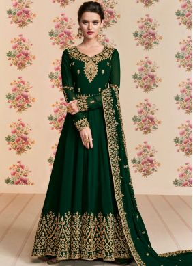 Stupendous Black Embroidered Anarkali Suit
