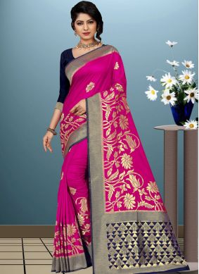 Stylish Art Silk Hot Pink Designer Traditional Saree