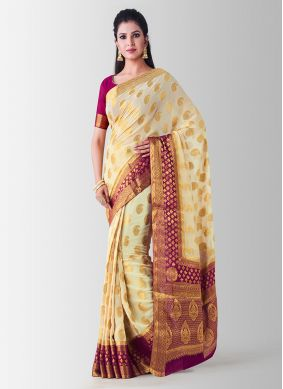 Stylish Beige Art Silk Designer Traditional Saree