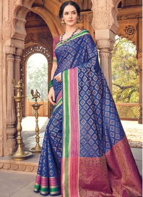 Stylish Blue Woven Art Silk Designer Traditional Saree