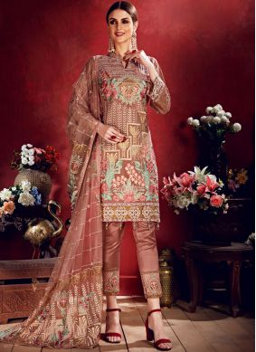 Stylish Georgette Embroidered Pink Salwar Suit