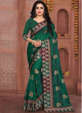 Suave Embroidered Art Silk Green Designer Traditional Saree