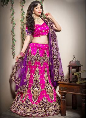 Suave Hot Pink Patchwork Trendy Lehenga Choli