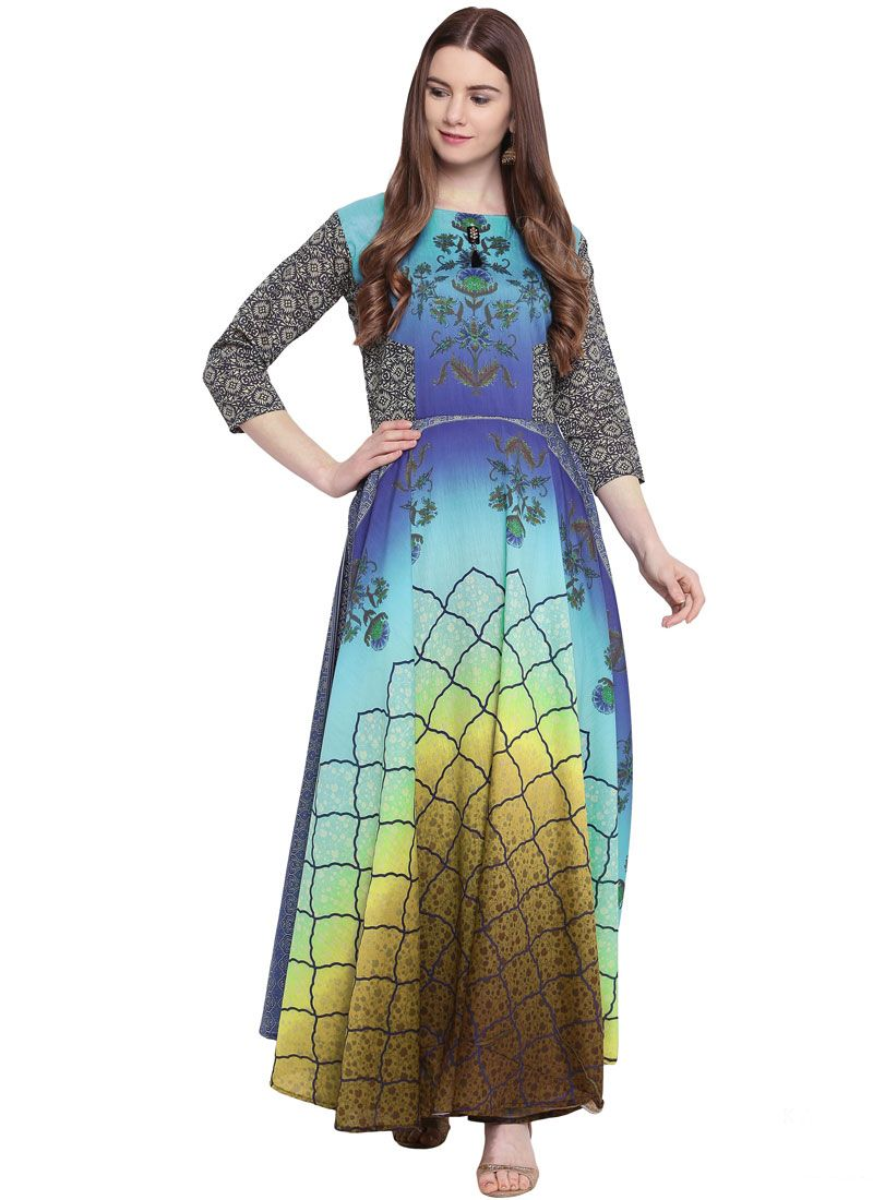 Suave Print Georgette Multi Colour Readymade Trendy Gown