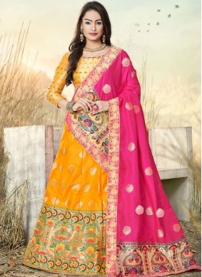 Subtle Embroidered Mustard Banarasi Silk Trendy A Line Lehenga Choli