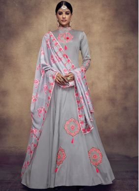 Subtle Grey Resham Readymade Anarkali Suit