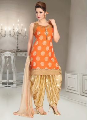 Subtle Orange Mehndi Punjabi Suit