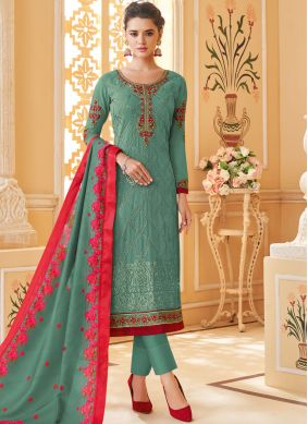 Sumptuous Embroidered Georgette Pant Style Suit