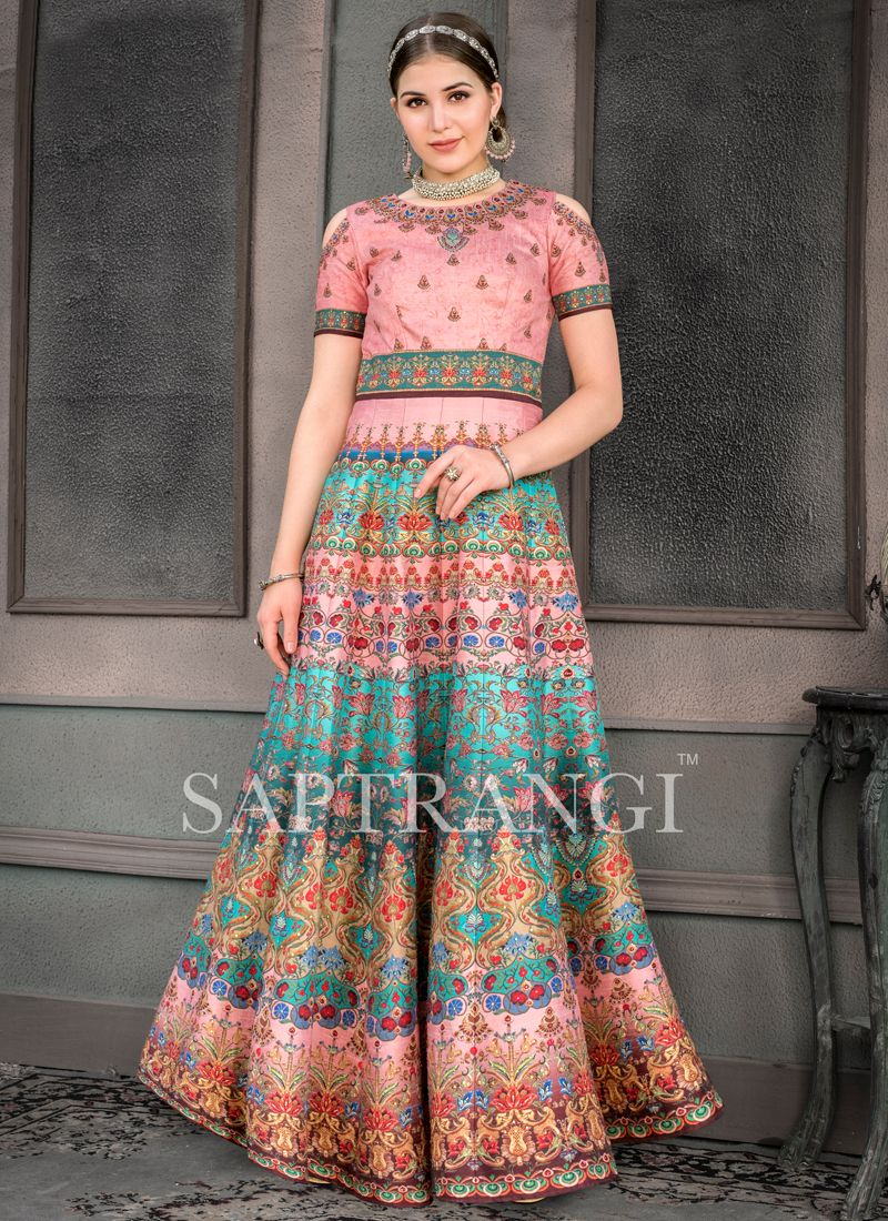 Sumptuous Embroidered Multi Colour Fancy Fabric Designer Gown