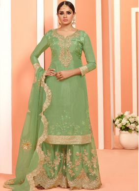 Sumptuous Green Designer Pakistani Suit