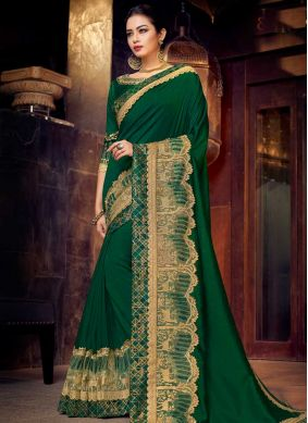 Sunshine Art Silk Green Traditional Designer Saree