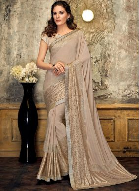 Sunshine Lycra Fancy Beige Designer Saree
