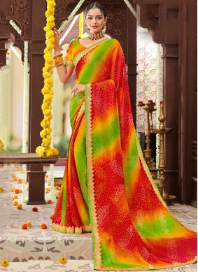 Sunshine Printed Multi Colour Trendy Saree