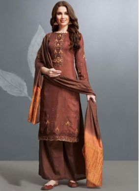 Superb Cotton Embroidered Palazzo Salwar Kameez