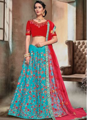 Superb Firozi Satin Trendy Lehenga Choli