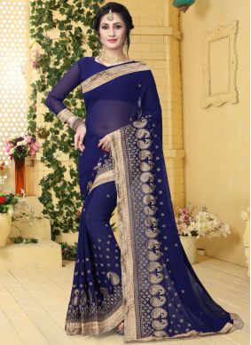 Superb Georgette Embroidered Classic Saree