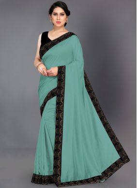 Superlative Turquoise Border Silk Designer Saree