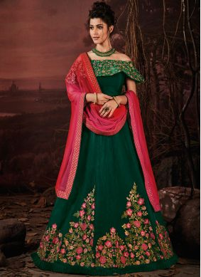 Surpassing Embroidered Silk Green Lehenga Choli