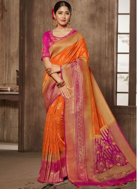 Surpassing Thread Orange Designer Traditional Saree