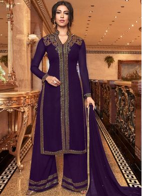 Swanky Faux Georgette Embroidered Purple Palazzo Salwar Suit