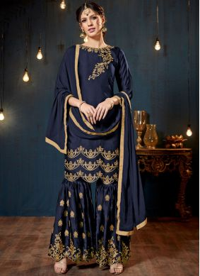 Swanky Lace Faux Georgette Blue Designer Pakistani Suit