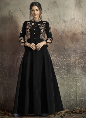 Tafeta Silk Embroidered Designer Gown in Black