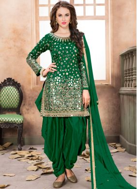 Tafeta Silk Green Embroidered Patiala Salwar Kameez