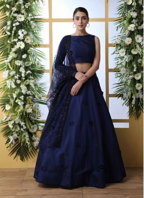 Tafeta Silk Lehenga Choli in Blue