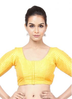 Tafeta Silk Plain Yellow Designer Blouse