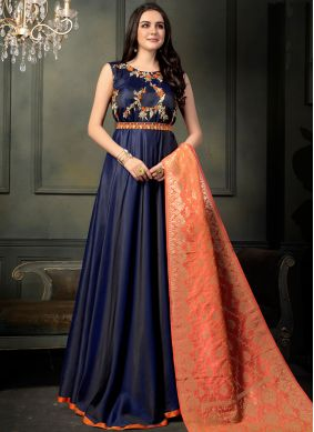 Tafeta silk Resham Floor Length Anarkali Suit in Blue