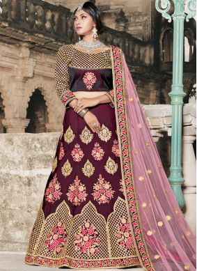 Tafeta silk Resham Lehenga Choli in Wine
