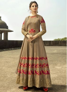Tantalizing Beige Faux Georgette Floor Length Anarkali Suit