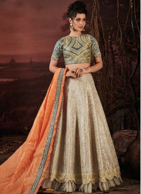 Tantalizing Cream Silk Lehenga Choli