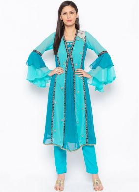Tantalizing Embroidered Blue Party Wear Kurti