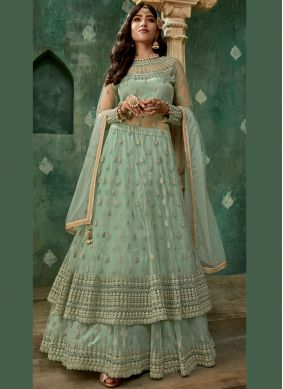 Tantalizing Embroidered Net Designer Lehenga Choli