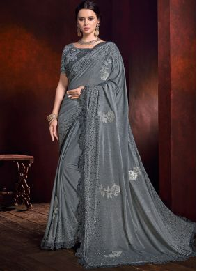 Tantalizing Grey Embroidered Trendy Saree