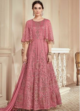 Tantalizing Net Resham Floor Length Anarkali Suit