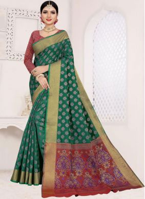 Tantalizing Weaving Teal Art Silk Cotton Casual Saree