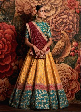 Teal and Yellow Banarasi Silk Engagement A Line Lehenga Choli