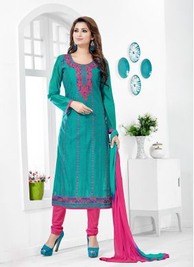 Teal Chanderi Cotton Salwar Kameez