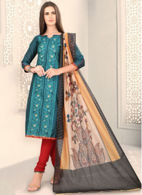 Teal Color Churidar Designer Suit