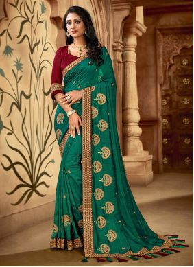 Teal Color Contemporary Saree