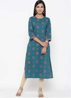 Teal Cotton Casual Kurti