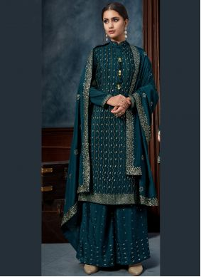 Teal Embroidered Chinon Designer Salwar Suit