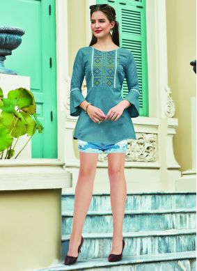 Teal Embroidered Cotton Casual Kurti
