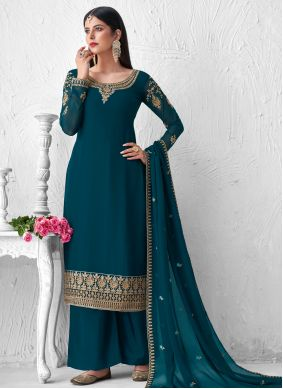 Teal Embroidered Mehndi Designer Palazzo Suit