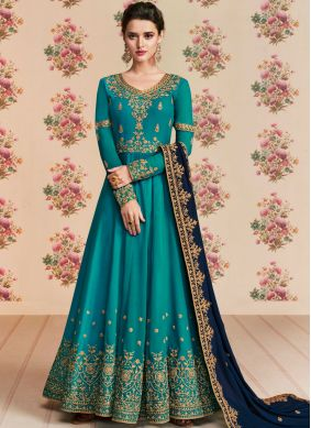 Teal Embroidered Sangeet Anarkali Salwar Suit