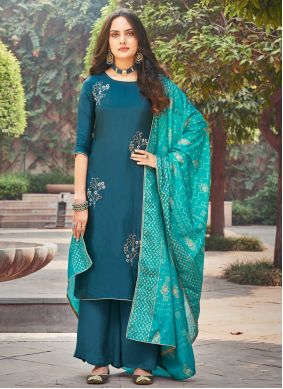 Teal Embroidered Silk Trendy Salwar Suit