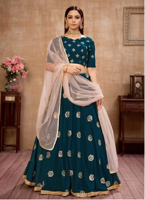 Teal Engagement Faux Georgette Lehenga Choli