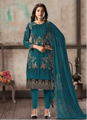 Teal Festival Georgette Pant Style Suit
